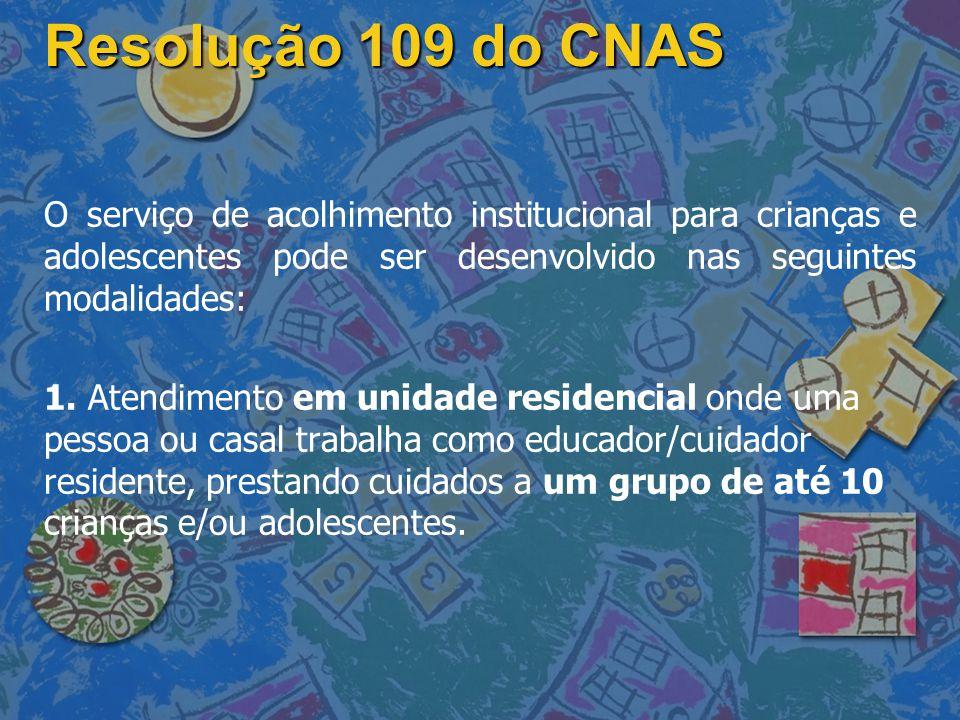 Resolução 109 do CNAS O serviço de acolhimento institucional para crianças e adolescentes pode ser desenvolvido nas seguintes modalidades: 1. Atendime