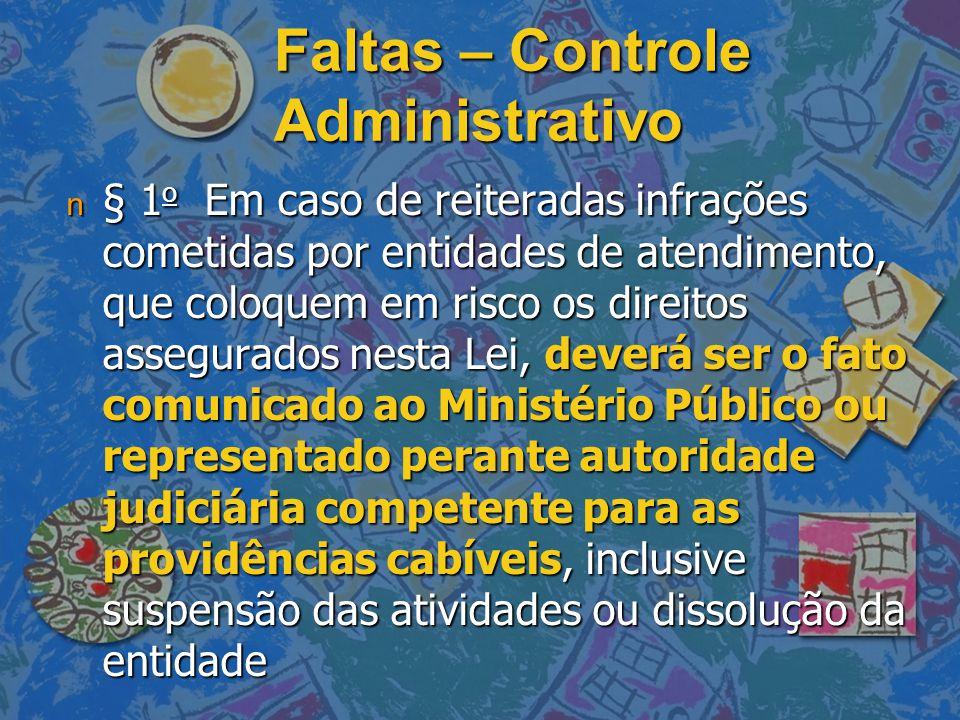 Faltas – Controle Administrativo n § 1 o Em caso de reiteradas infrações cometidas por entidades de atendimento, que coloquem em risco os direitos ass