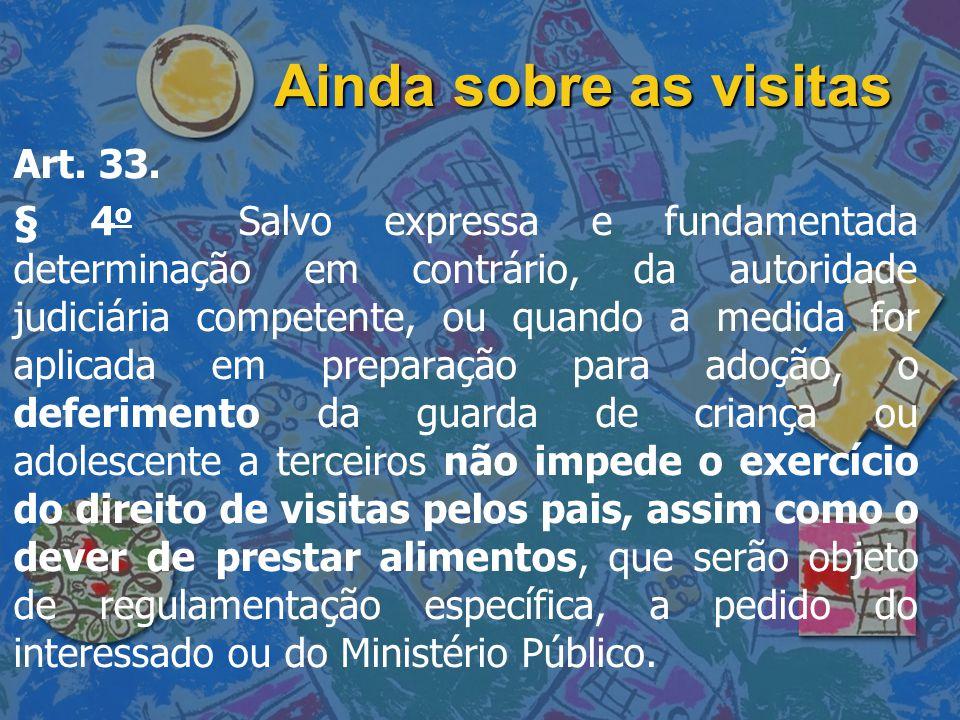 Ainda sobre as visitas Art. 33. § 4 o Salvo expressa e fundamentada determinação em contrário, da autoridade judiciária competente, ou quando a medida