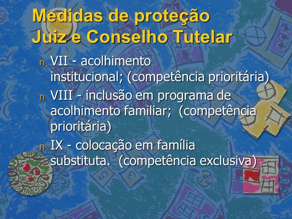 Medidas de proteção Juiz e Conselho Tutelar n VII - acolhimento institucional; (competência prioritária) n VIII - inclusão em programa de acolhimento
