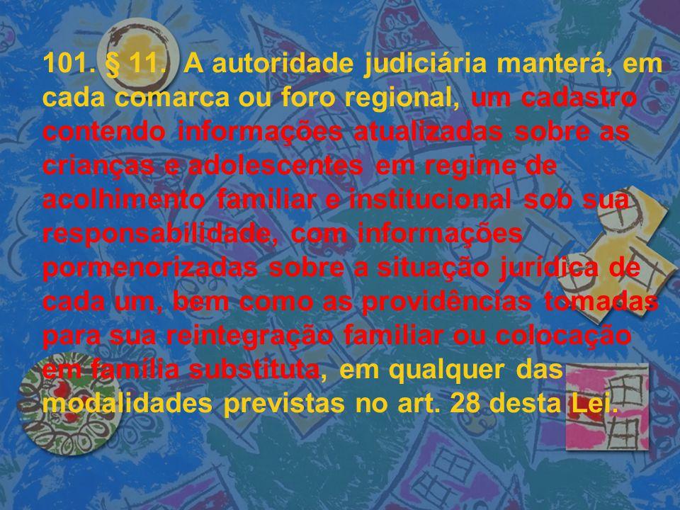 101. § 11. A autoridade judiciária manterá, em cada comarca ou foro regional, um cadastro contendo informações atualizadas sobre as crianças e adolesc