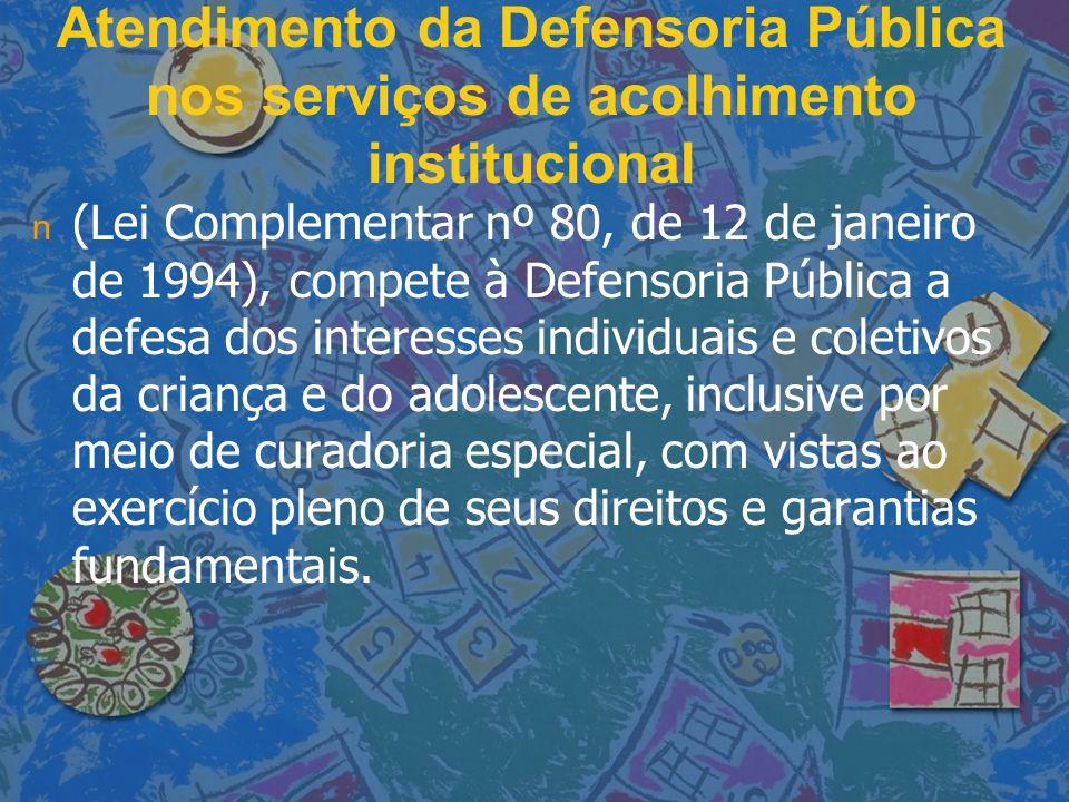 Atendimento da Defensoria Pública nos serviços de acolhimento institucional n n (Lei Complementar nº 80, de 12 de janeiro de 1994), compete à Defensor