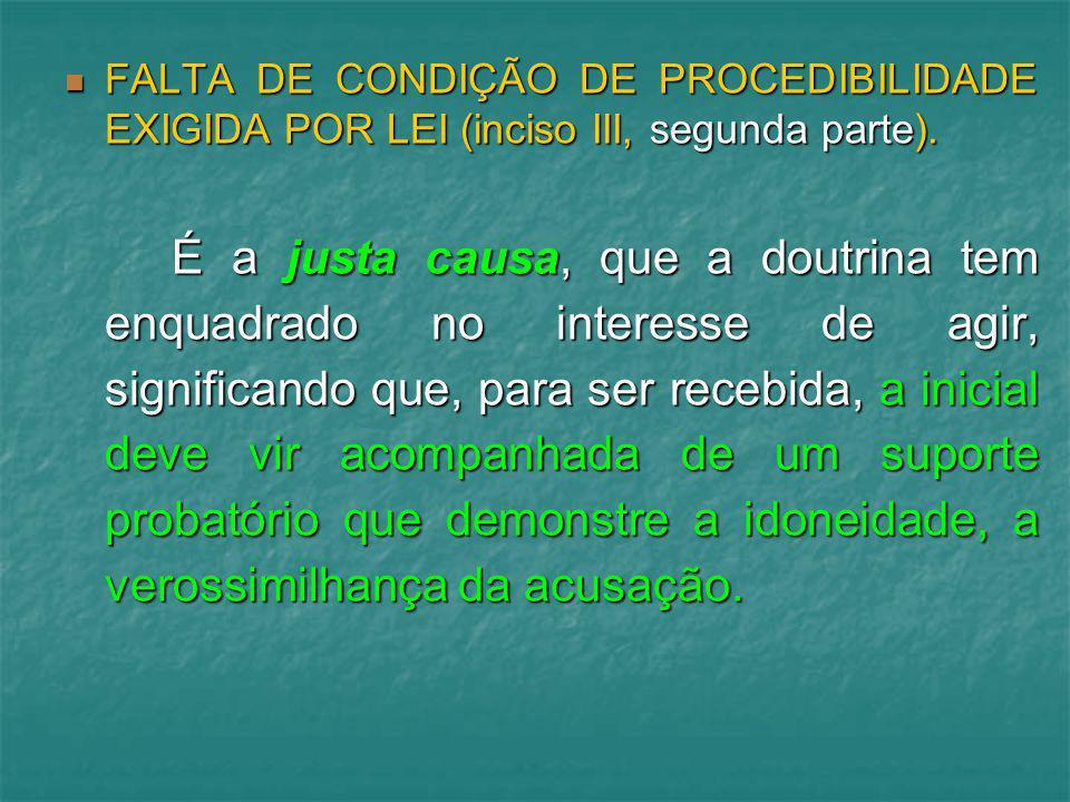FALTA DE CONDIÇÃO DE PROCEDIBILIDADE EXIGIDA POR LEI (inciso III, segunda parte). FALTA DE CONDIÇÃO DE PROCEDIBILIDADE EXIGIDA POR LEI (inciso III, se