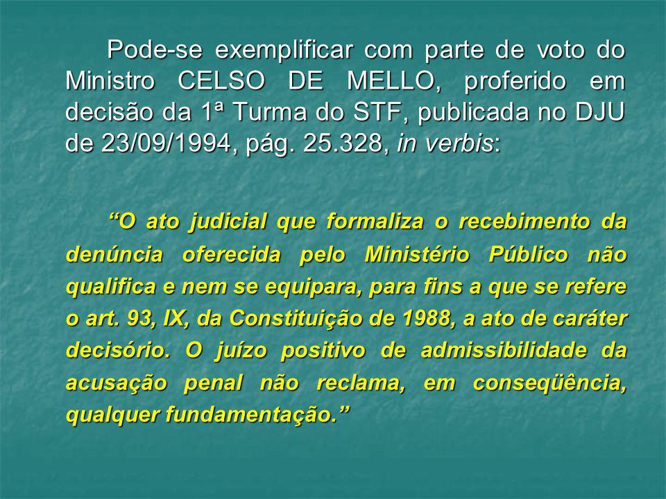 Pode-se exemplificar com parte de voto do Ministro CELSO DE MELLO, proferido em decisão da 1ª Turma do STF, publicada no DJU de 23/09/1994, pág. 25.32