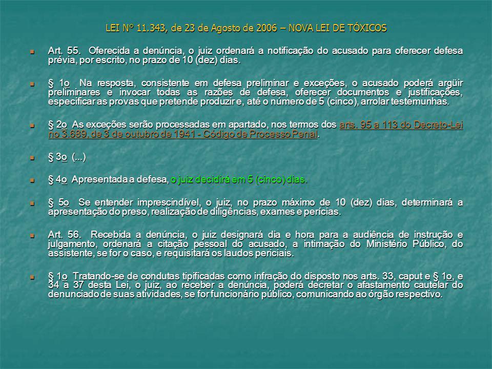 LEI N° 11.343, de 23 de Agosto de 2006 – NOVA LEI DE TÓXICOS Art. 55. Oferecida a denúncia, o juiz ordenará a notificação do acusado para oferecer def