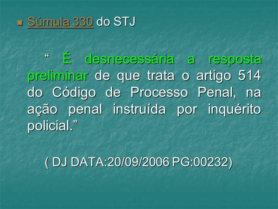 """Súmula 330 do STJ Súmula 330 do STJ Súmula 330 """" É desnecessária a resposta preliminar de que trata o artigo 514 do Código de Processo Penal, na ação"""