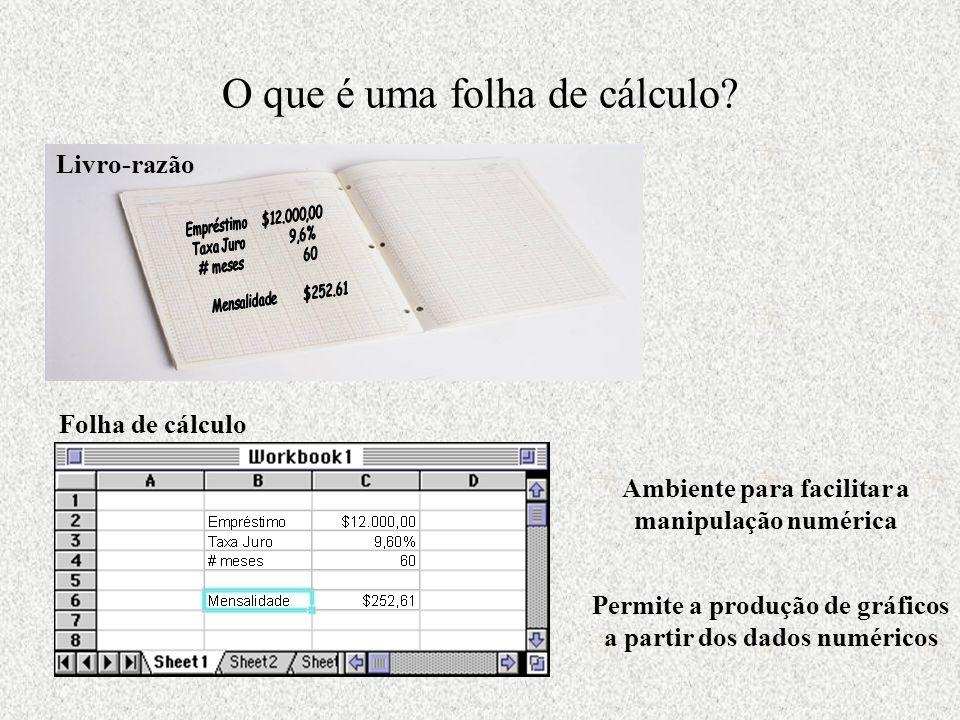 O que é uma folha de cálculo? Livro-razão Folha de cálculo Ambiente para facilitar a manipulação numérica Permite a produção de gráficos a partir dos