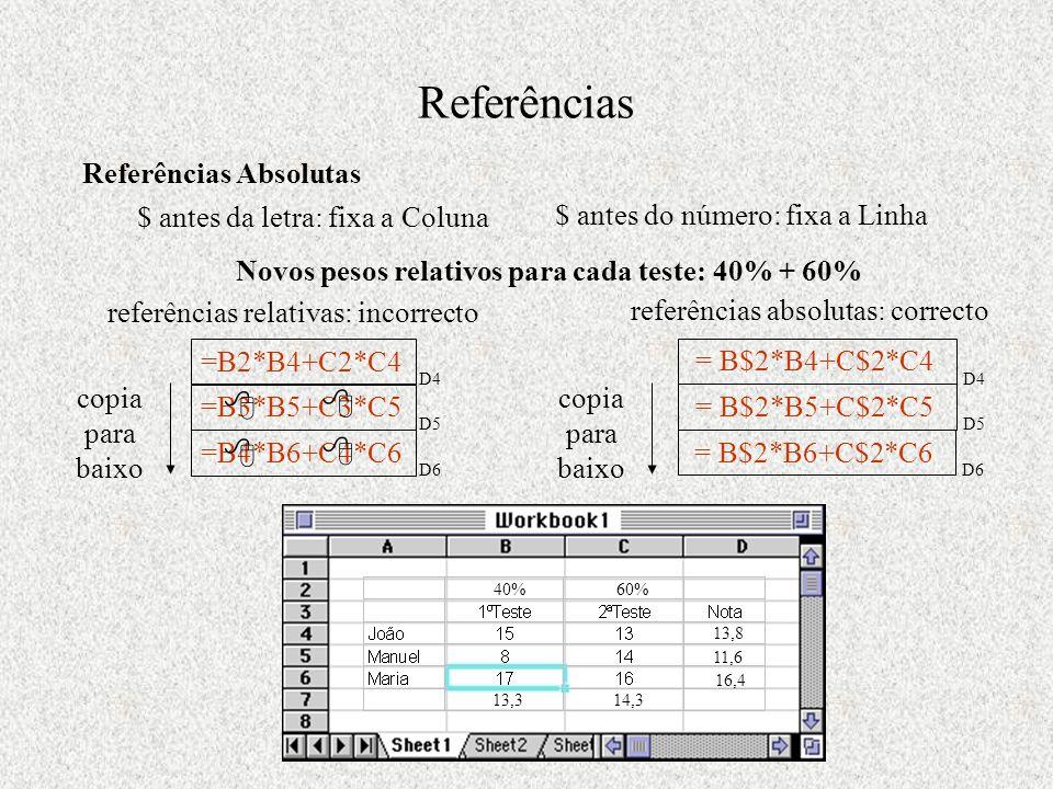 Referências Referências Absolutas $ antes da letra: fixa a Coluna copia para baixo =B3*B5+C3*C5 D5 =B4*B6+C4*C6 D6 302 360 14,313,3 $ antes do número: fixa a Linha Novos pesos relativos para cada teste: 40% + 60% 40%60% =B2*B4+C2*C4 D4 13,8 referências relativas: incorrecto     = B$2*B4+C$2*C4 D4 referências absolutas: correcto copia para baixo = B$2*B5+C$2*C5 D5 = B$2*B6+C$2*C6 D6 11,6 16,4