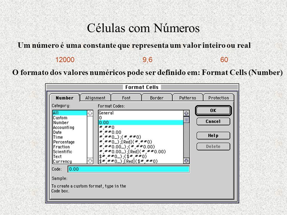 Células com Números Um número é uma constante que representa um valor inteiro ou real 120009,660 O formato dos valores numéricos pode ser definido em: Format Cells (Number)