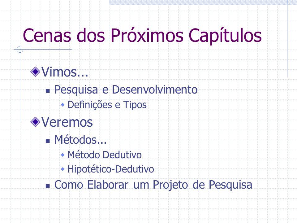 Cenas dos Próximos Capítulos Vimos... Pesquisa e Desenvolvimento  Definições e Tipos Veremos Métodos...  Método Dedutivo  Hipotético-Dedutivo Como