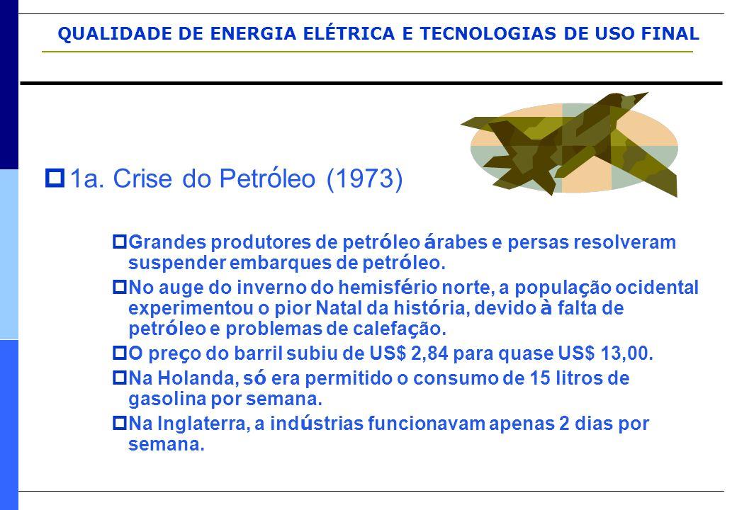 QUALIDADE DE ENERGIA ELÉTRICA E TECNOLOGIAS DE USO FINAL  1a. Crise do Petr ó leo (1973)  Grandes produtores de petr ó leo á rabes e persas resolver