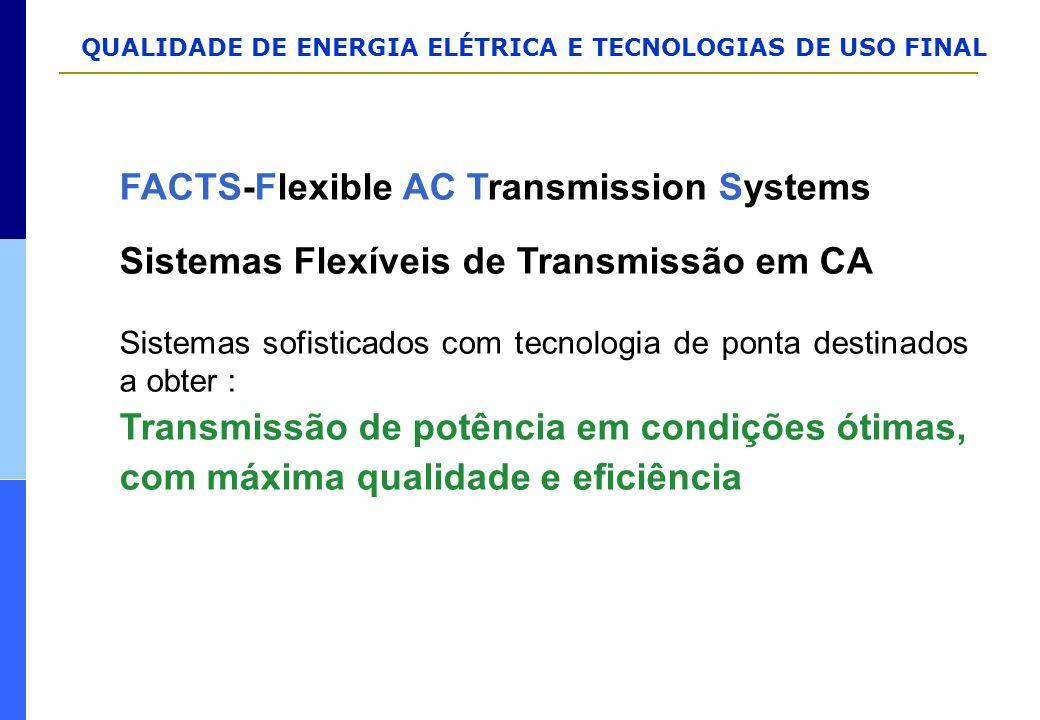 QUALIDADE DE ENERGIA ELÉTRICA E TECNOLOGIAS DE USO FINAL FACTS-Flexible AC Transmission Systems Sistemas Flexíveis de Transmissão em CA Sistemas sofis