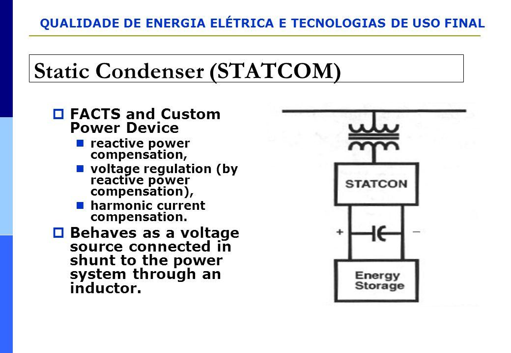 QUALIDADE DE ENERGIA ELÉTRICA E TECNOLOGIAS DE USO FINAL Static Condenser (STATCOM)  FACTS and Custom Power Device reactive power compensation, volta