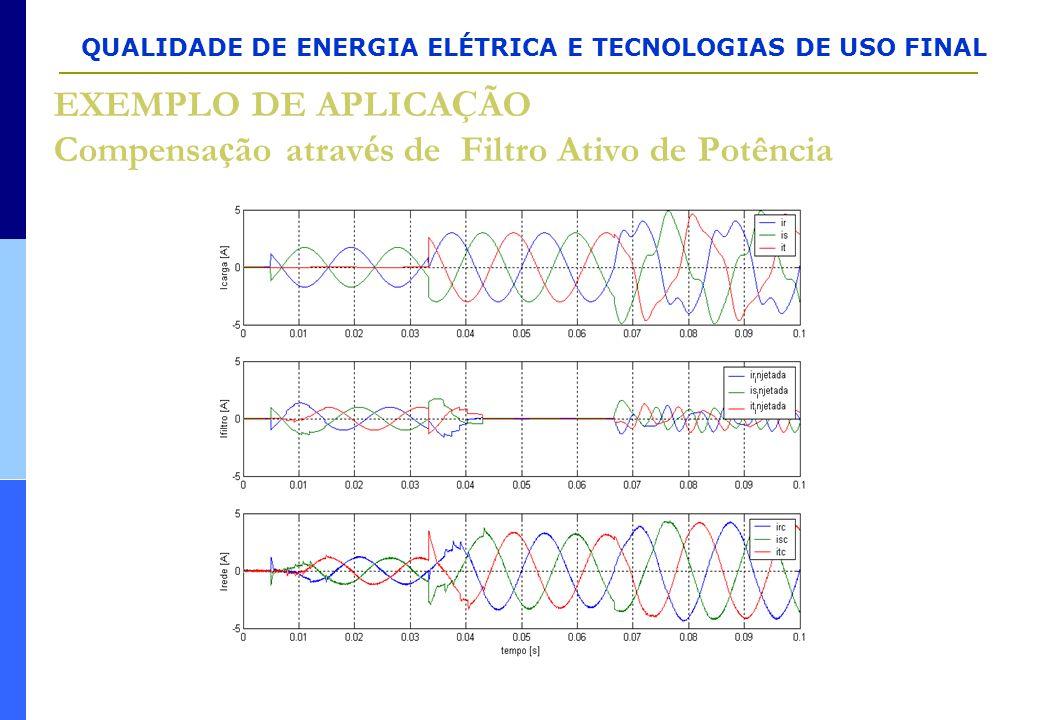 QUALIDADE DE ENERGIA ELÉTRICA E TECNOLOGIAS DE USO FINAL EXEMPLO DE APLICA Ç ÃO Compensa ç ão atrav é s de Filtro Ativo de Potência