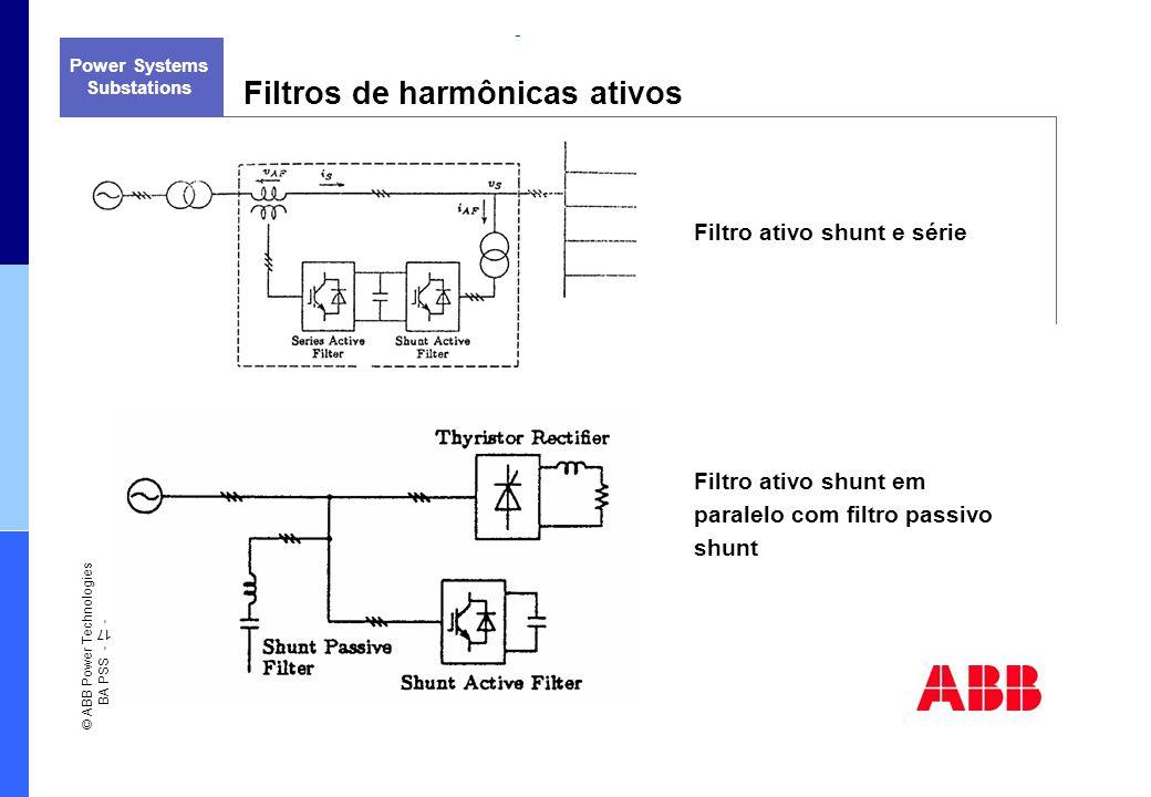 QUALIDADE DE ENERGIA ELÉTRICA E TECNOLOGIAS DE USO FINAL Power Systems Filtros de harmônicas ativos Substations Filtro ativo shunt e série Filtro ativ