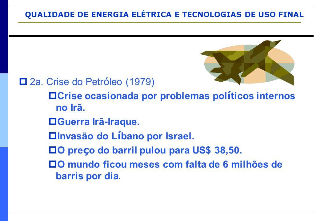 QUALIDADE DE ENERGIA ELÉTRICA E TECNOLOGIAS DE USO FINAL  2a. Crise do Petr ó leo (1979)  Crise ocasionada por problemas pol í ticos internos no Irã
