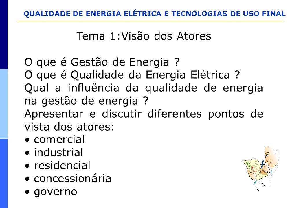 QUALIDADE DE ENERGIA ELÉTRICA E TECNOLOGIAS DE USO FINAL Tema 1:Visão dos Atores O que é Gestão de Energia ? O que é Qualidade da Energia Elétrica ? Q