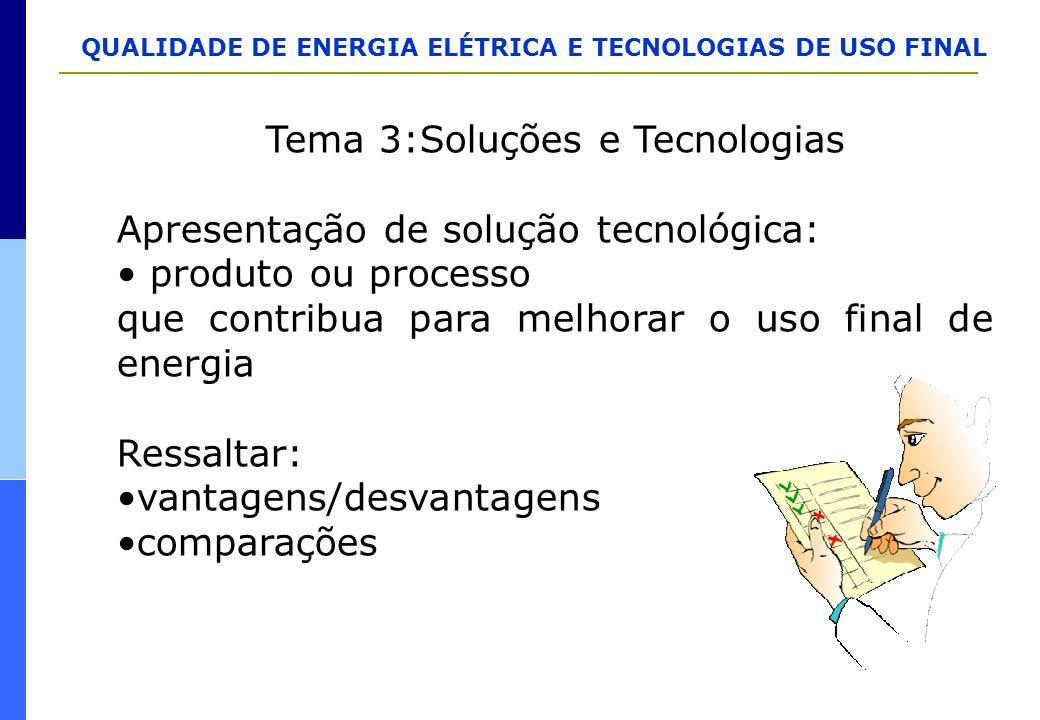 QUALIDADE DE ENERGIA ELÉTRICA E TECNOLOGIAS DE USO FINAL Tema 3:Soluções e Tecnologias Apresentação de solução tecnológica: produto ou processo que co