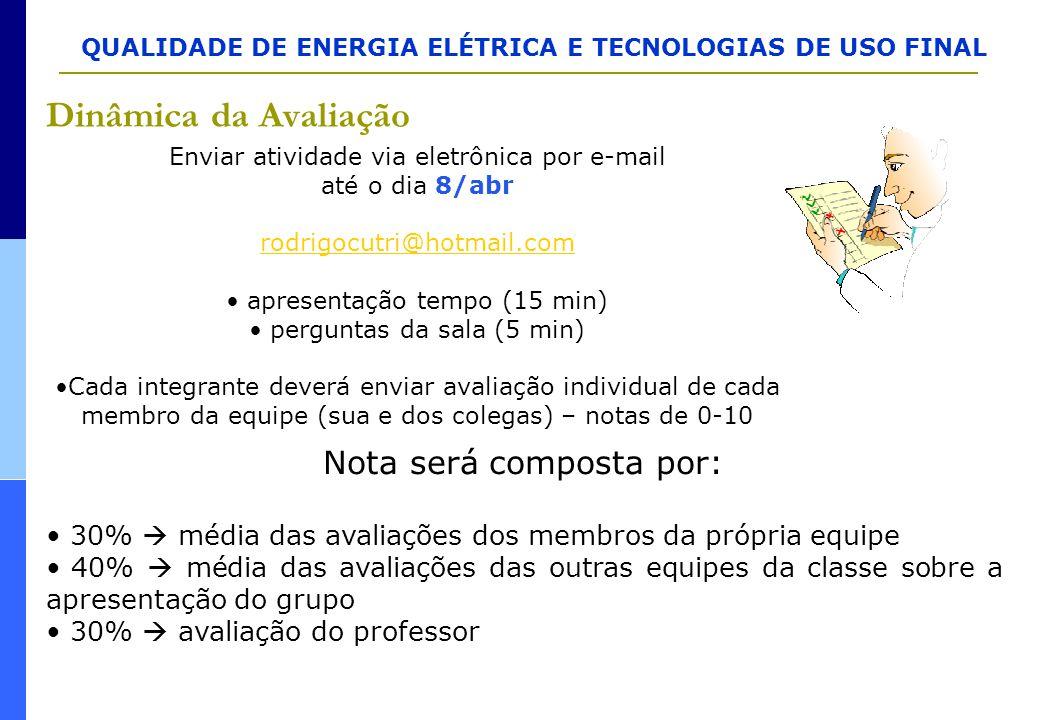 QUALIDADE DE ENERGIA ELÉTRICA E TECNOLOGIAS DE USO FINAL Dinâmica da Avaliação Enviar atividade via eletrônica por e-mail até o dia 8/abr rodrigocutri