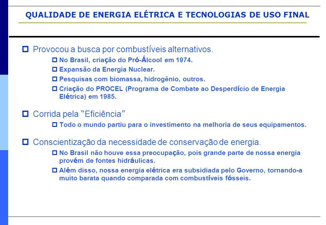 QUALIDADE DE ENERGIA ELÉTRICA E TECNOLOGIAS DE USO FINAL  Provocou a busca por combust í veis alternativos.  No Brasil, cria ç ão do Pr ó - Á lcool