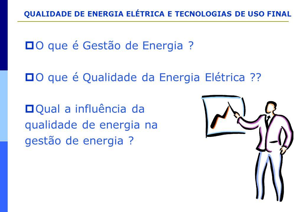QUALIDADE DE ENERGIA ELÉTRICA E TECNOLOGIAS DE USO FINAL  O que é Gestão de Energia ?  O que é Qualidade da Energia Elétrica ??  Qual a influência