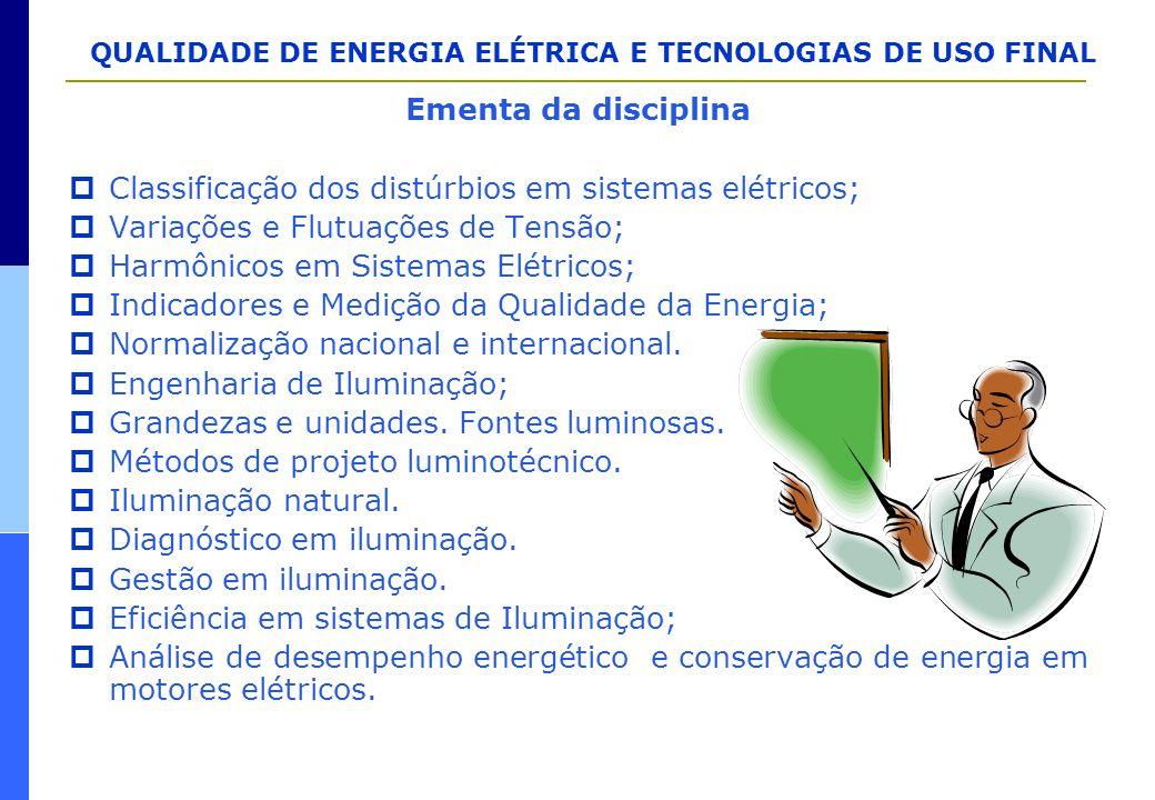 QUALIDADE DE ENERGIA ELÉTRICA E TECNOLOGIAS DE USO FINAL AVALIAÇÃO DE PROBLEMAS DE QUALIDADE IDENTIFICAÇÃOCATEGORIA CARACTERIZAÇÃO ALTERNATIVAS ANÁLISE DAS SOLUÇÕES SOLUÇÃO ÓTIMA REGULAÇÃO E AFUNDAMENTOS FLICKER TRANSITÓRIOS HARMÔNICOS DESBALANÇO INTERRUPÇÕES CAUSAS CAUSAS MEDIÇÕES/COLETA DE DADOS CARACTERÍSTICAS IMPACTO NO EQUIPAMENTO IMPACTO NO EQUIPAMENTO TRANSMISSÃO DISTRIBUIÇÃO CLIENTE ESPECIFICAÇÃO/EQUIPAMENTO AVALIAÇÃO ECONÔMICA DAS POSSÍVEIS SOLUÇÕES AVALIAÇÃO ECONÔMICA DAS POSSÍVEIS SOLUÇÕES DIAGNÓSTICO/RECOMENDAÇÕES ALTERNATIVAS TÉCNICAS DIAGNÓSTICO/RECOMENDAÇÕES ALTERNATIVAS TÉCNICAS