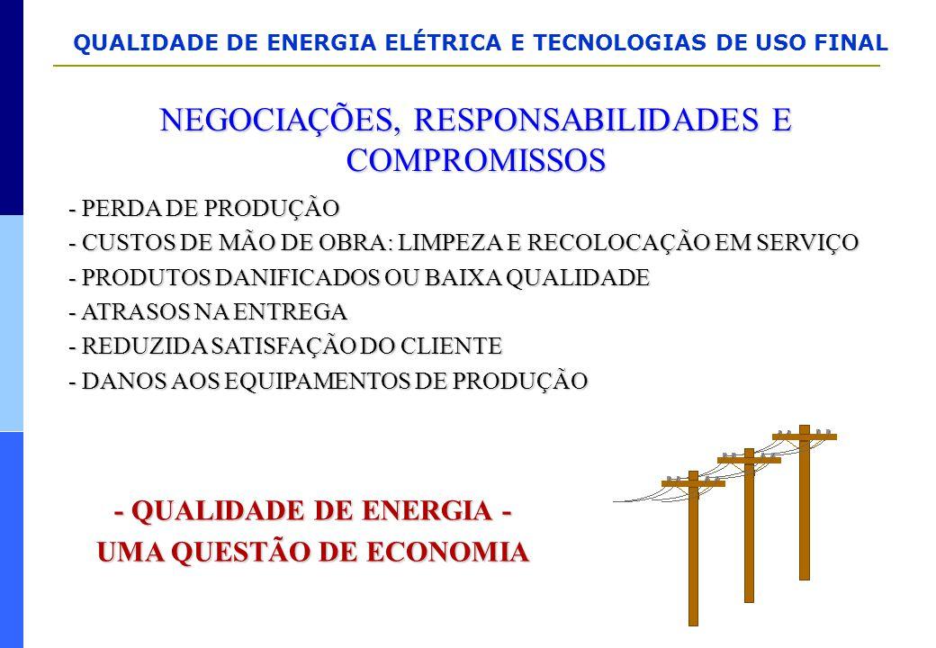 QUALIDADE DE ENERGIA ELÉTRICA E TECNOLOGIAS DE USO FINAL NEGOCIAÇÕES, RESPONSABILIDADES E COMPROMISSOS - PERDA DE PRODUÇÃO - CUSTOS DE MÃO DE OBRA: LI