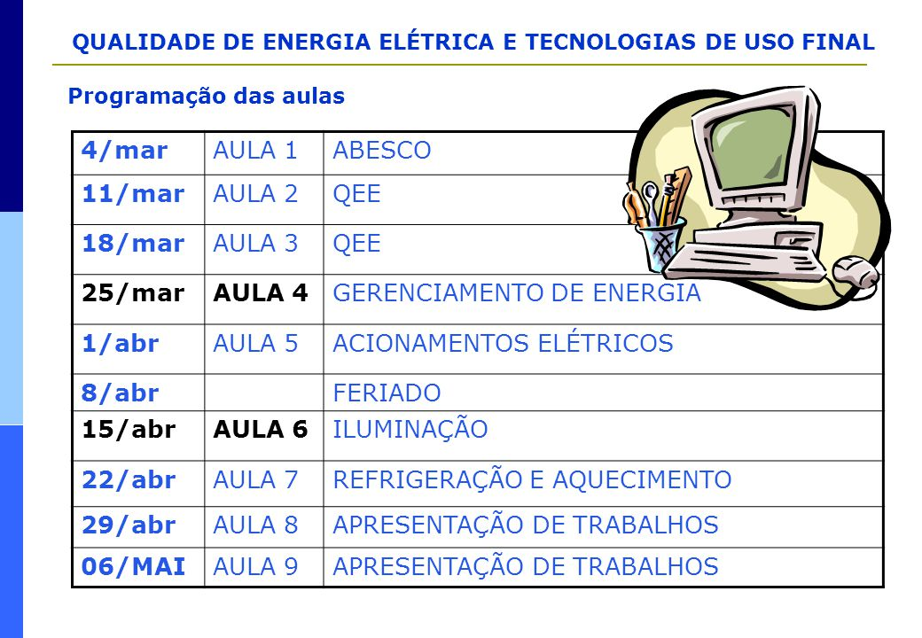 QUALIDADE DE ENERGIA ELÉTRICA E TECNOLOGIAS DE USO FINAL Power Quality solutions  Back-up generator(s)  Dynamic voltage restorers  Harmonic filter (passive)  Isolation transformers  Line conditioners or active filters  Multiple independent feeder  Oversizing equipment (transformers, motors) and cables (line and especially neutral conductors)  Shielding and grounding  Static transfer switches  Static Var Compensator  Surge protectors on key pieces of equipment  Uninterruptible power supply (UPS) devices  Voltage stabilisers