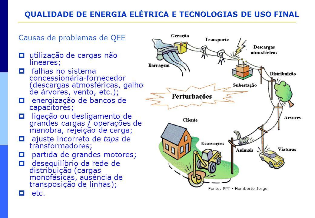 Causas de problemas de QEE  utilização de cargas não lineares;  falhas no sistema concessionária-fornecedor (descargas atmosféricas, galhos de árvor