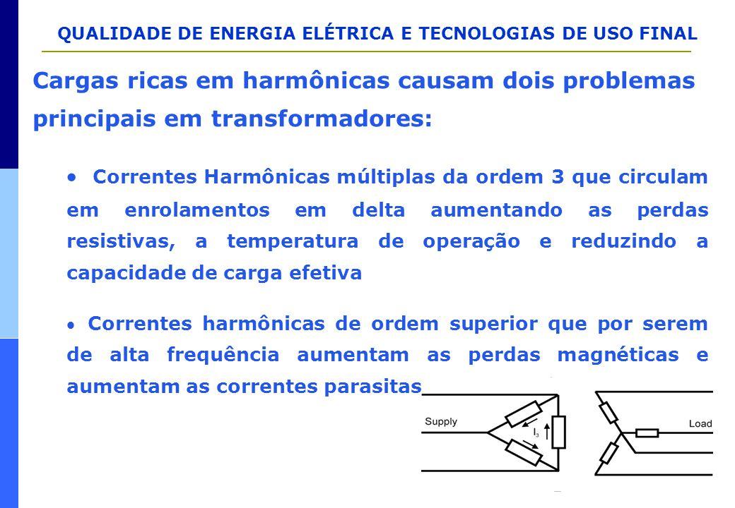 QUALIDADE DE ENERGIA ELÉTRICA E TECNOLOGIAS DE USO FINAL Cargas ricas em harmônicas causam dois problemas principais em transformadores:  Correntes H