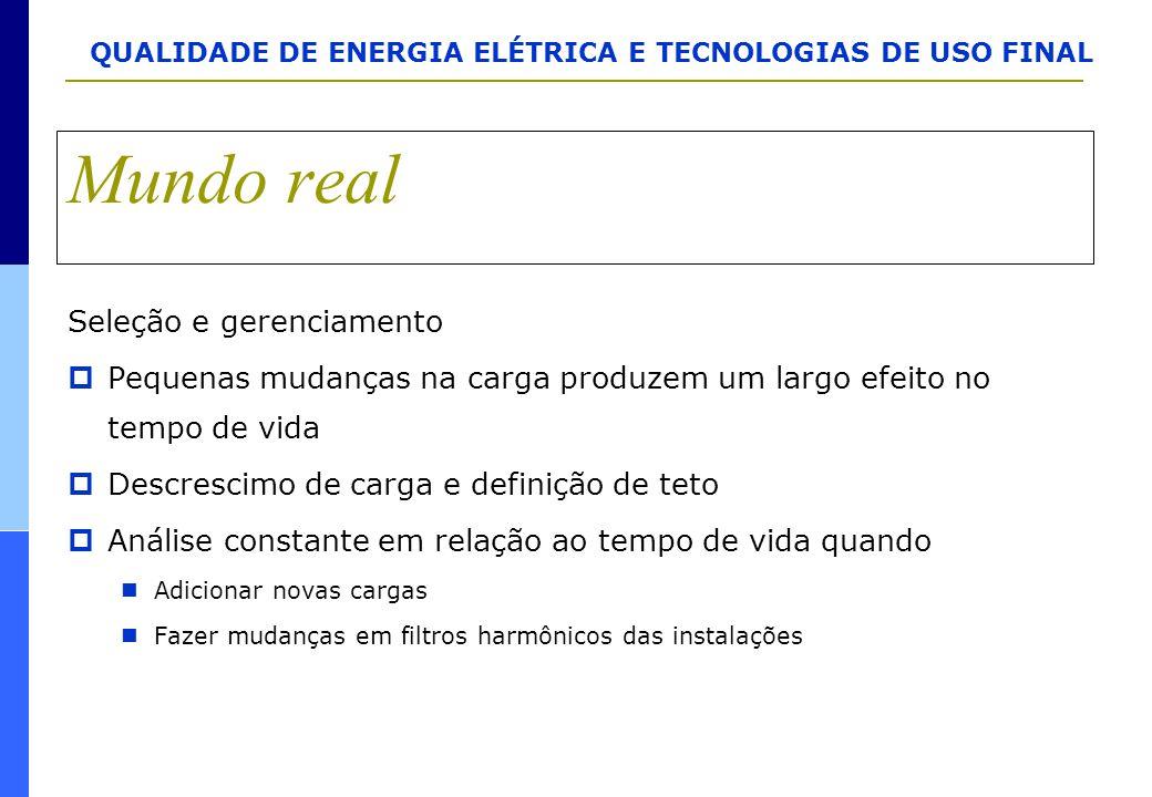 QUALIDADE DE ENERGIA ELÉTRICA E TECNOLOGIAS DE USO FINAL Mundo real Seleção e gerenciamento  Pequenas mudanças na carga produzem um largo efeito no t