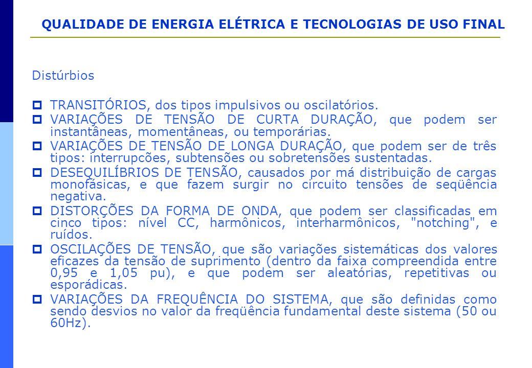 QUALIDADE DE ENERGIA ELÉTRICA E TECNOLOGIAS DE USO FINAL Distúrbios  TRANSITÓRIOS, dos tipos impulsivos ou oscilatórios.  VARIAÇÕES DE TENSÃO DE CUR