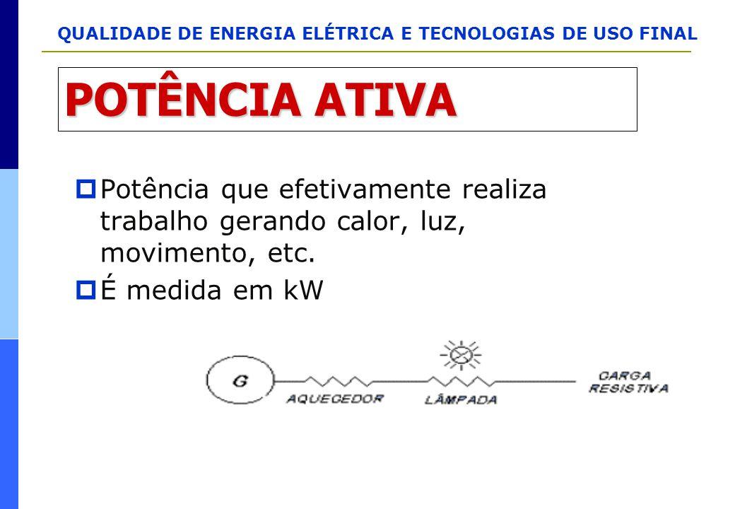 QUALIDADE DE ENERGIA ELÉTRICA E TECNOLOGIAS DE USO FINAL POTÊNCIA ATIVA  Potência que efetivamente realiza trabalho gerando calor, luz, movimento, et