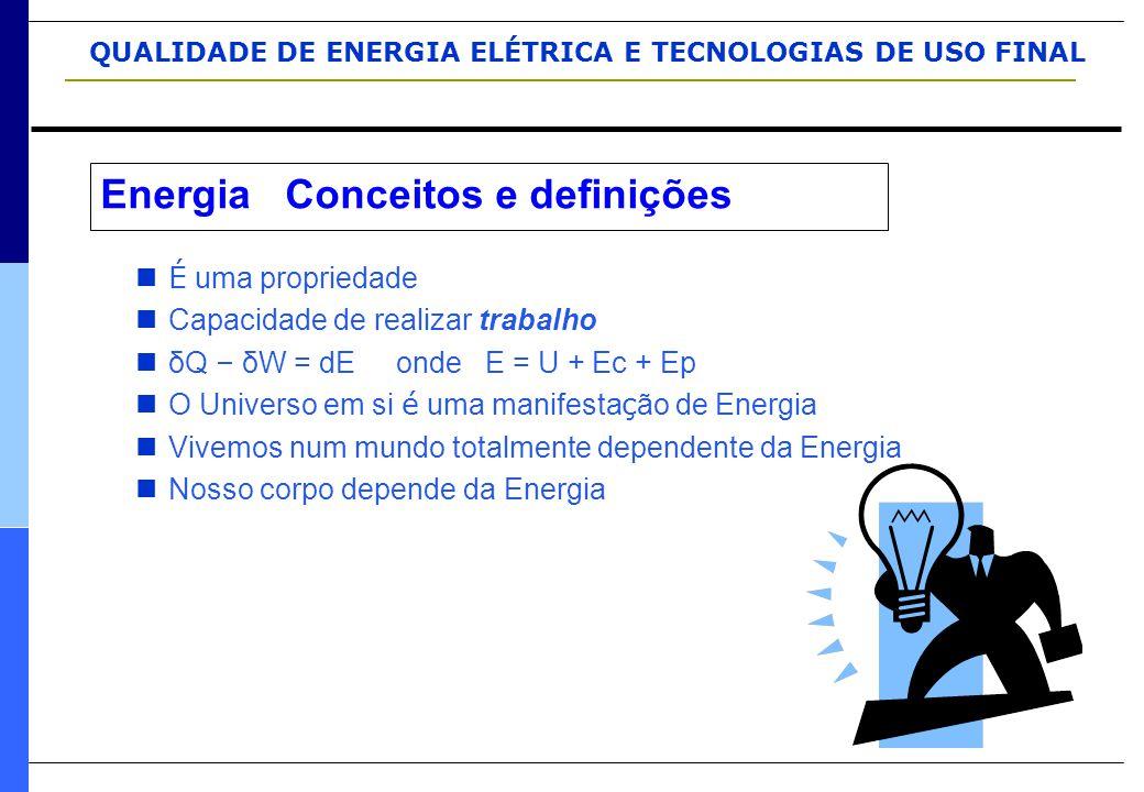 QUALIDADE DE ENERGIA ELÉTRICA E TECNOLOGIAS DE USO FINAL  Disjuntores e fusíveis - perturbação das suas características de interrupção  Aparelhos de medida - diminuição da precisão  Capacitores - aumento da sua dissipação térmica e deterioração do seu dielétrico  Condutores - sobreaquecimento em condutores de neutro  Telefones - a proximidade entre linhas telefónicas e condutores eléctricos propiciam a indução de ruído nos canais telefónicos  Equipamentos e instrumentos eletrônicos - mau funcionamento CONSEQUÊNCIAS RELATIVAS A BAIXA QEE