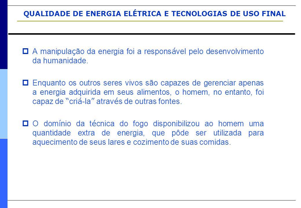 QUALIDADE DE ENERGIA ELÉTRICA E TECNOLOGIAS DE USO FINAL RESUMO: CAUSAS, EFEITOS E SOLUÇÕES ( Fonte: Engecomp ) DistúrbioDescriçãoCausasEfeitosSoluções InterrupçõesInterrupção total da alimentação elétrica Curto-circuitos, descargas atmosféricas, e outros acidentes que exijam manobras precisas de fusíveis, disjuntores, etc.
