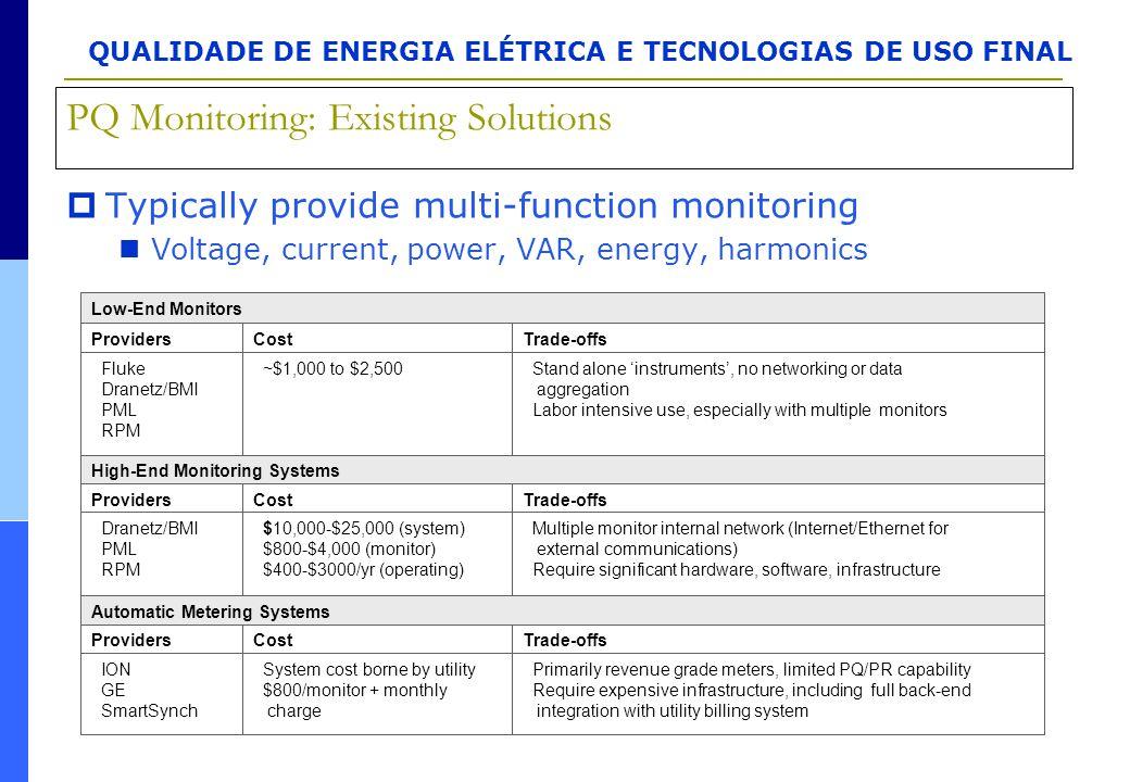 QUALIDADE DE ENERGIA ELÉTRICA E TECNOLOGIAS DE USO FINAL Trade-offsCostProviders Trade-offsCostProviders Trade-offsCostProviders Primarily revenue gra
