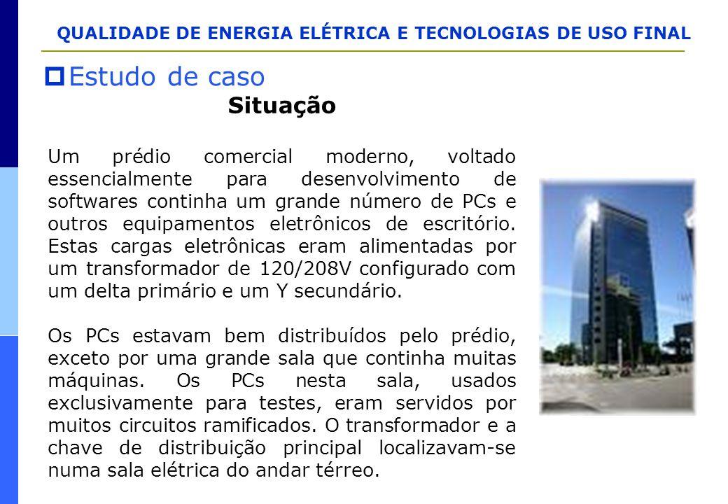 QUALIDADE DE ENERGIA ELÉTRICA E TECNOLOGIAS DE USO FINAL  Estudo de caso Situação Um prédio comercial moderno, voltado essencialmente para desenvolvi