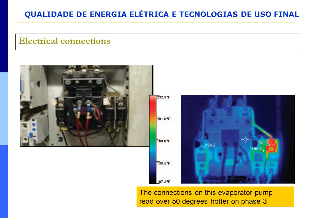 QUALIDADE DE ENERGIA ELÉTRICA E TECNOLOGIAS DE USO FINAL Electrical connections The connections on this evaporator pump read over 50 degrees hotter on