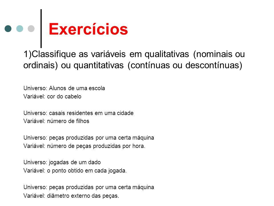 Exercícios 1)Classifique as variáveis em qualitativas (nominais ou ordinais) ou quantitativas (contínuas ou descontínuas) Universo: Alunos de uma esco