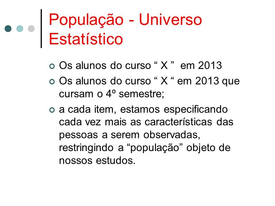 População - Universo Estatístico Os alunos do curso X em 2013 Os alunos do curso X em 2013 que cursam o 4º semestre; a cada item, estamos especificando cada vez mais as características das pessoas a serem observadas, restringindo a população objeto de nossos estudos.