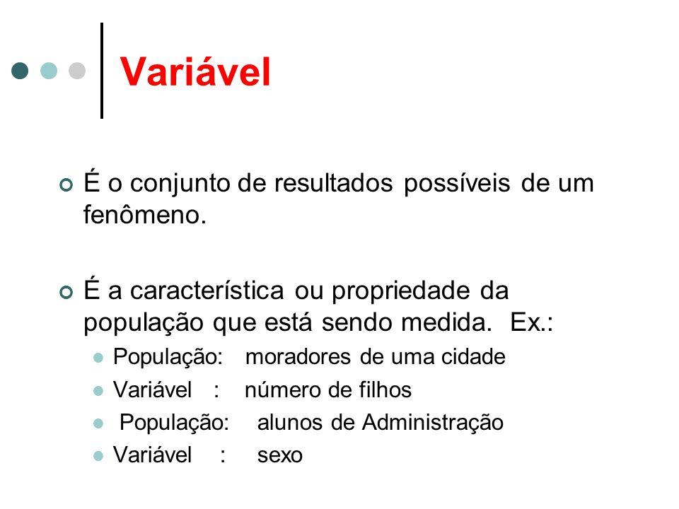 Variável É o conjunto de resultados possíveis de um fenômeno. É a característica ou propriedade da população que está sendo medida. Ex.: População: mo