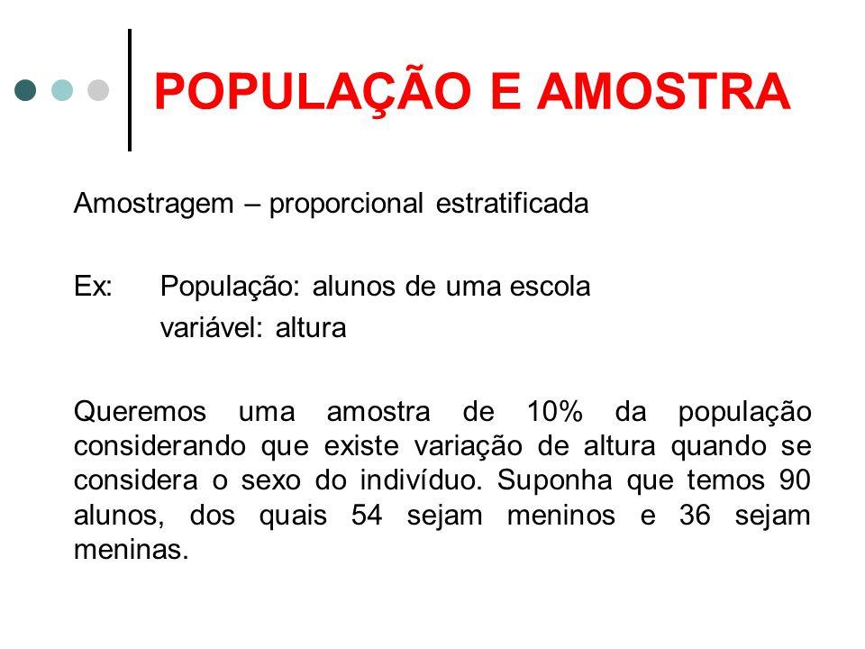 POPULAÇÃO E AMOSTRA Amostragem – proporcional estratificada Ex: População: alunos de uma escola variável: altura Queremos uma amostra de 10% da popula