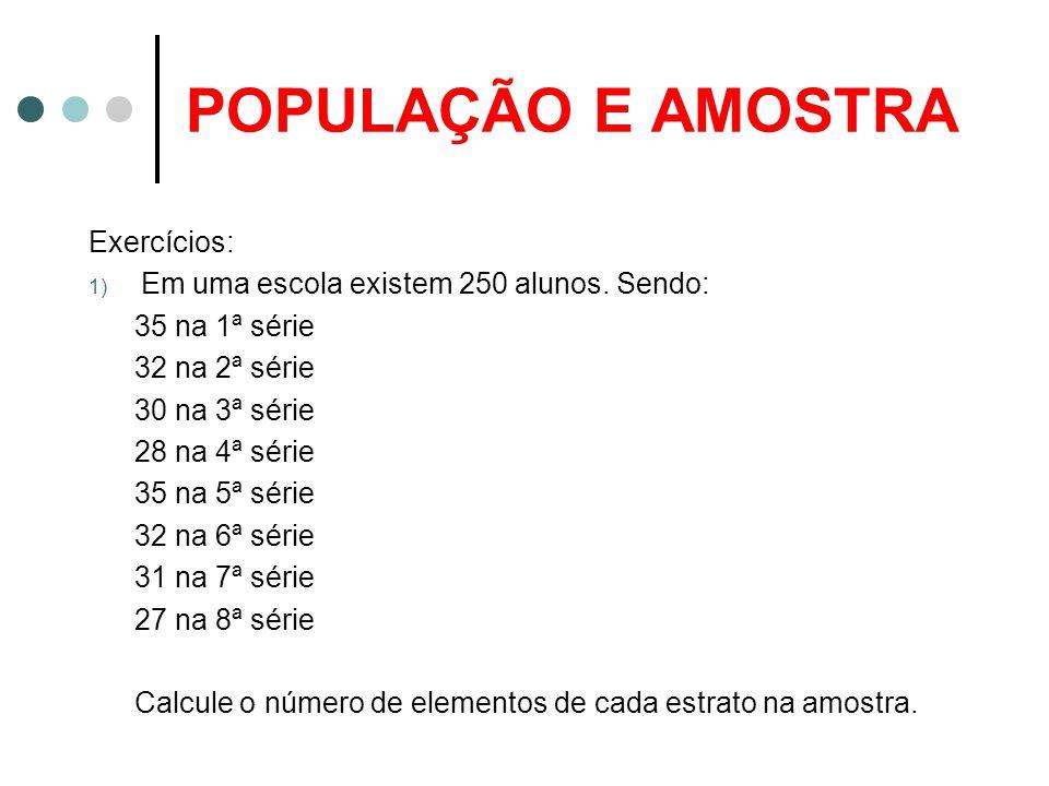 POPULAÇÃO E AMOSTRA Exercícios: 1) Em uma escola existem 250 alunos.