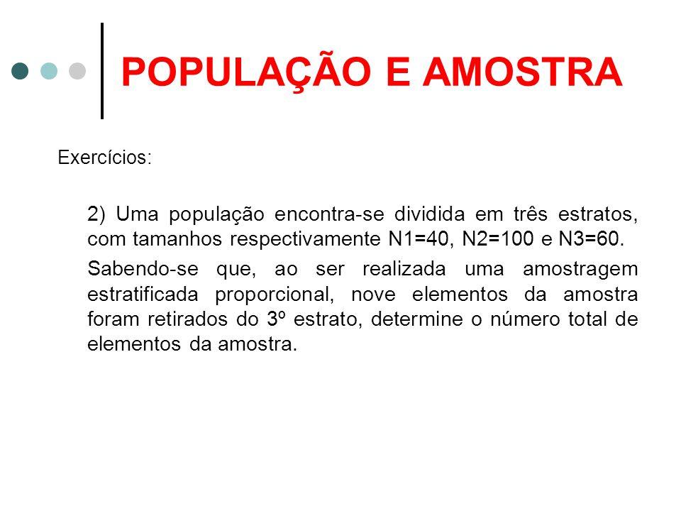 POPULAÇÃO E AMOSTRA Exercícios: 2) Uma população encontra-se dividida em três estratos, com tamanhos respectivamente N1=40, N2=100 e N3=60. Sabendo-se