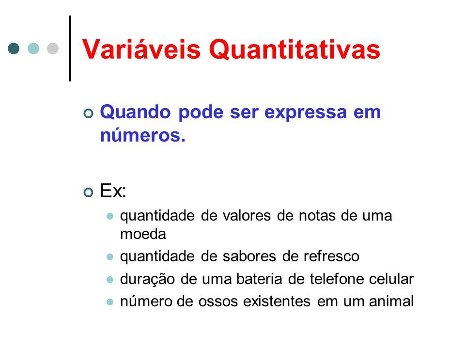 Variáveis Quantitativas Quando pode ser expressa em números. Ex: quantidade de valores de notas de uma moeda quantidade de sabores de refresco duração