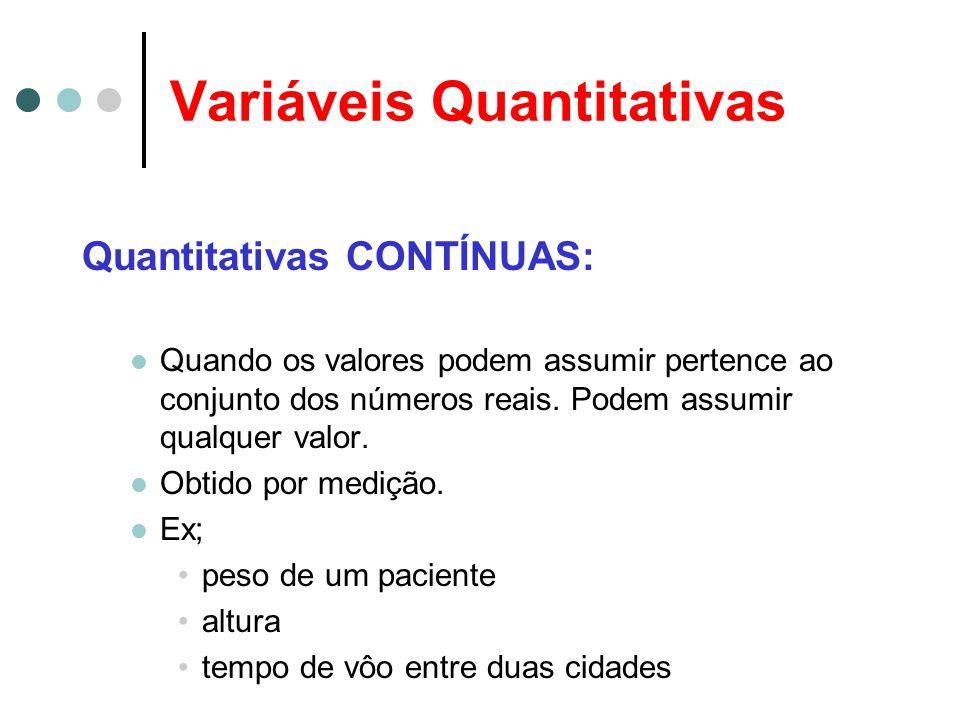 Variáveis Quantitativas Quantitativas CONTÍNUAS: Quando os valores podem assumir pertence ao conjunto dos números reais. Podem assumir qualquer valor.
