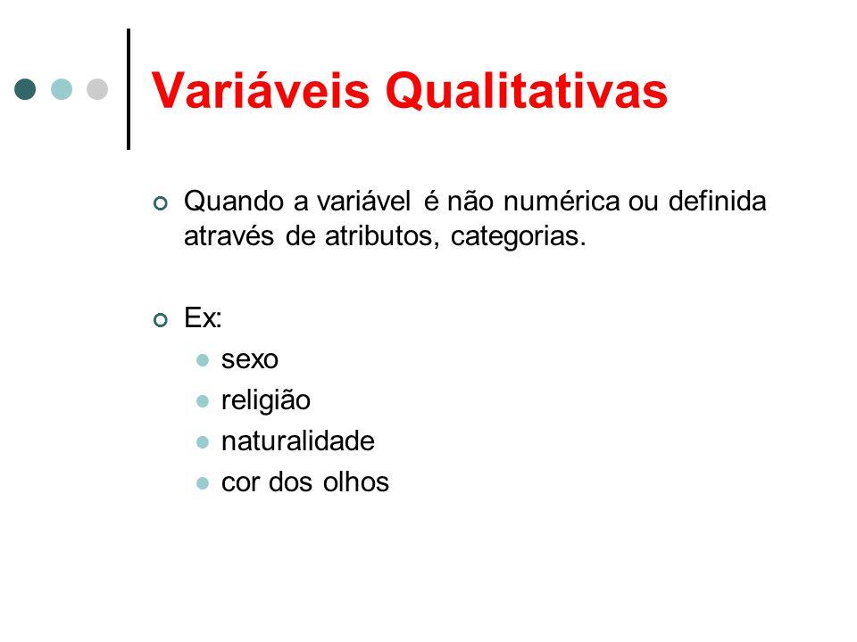 Variáveis Qualitativas Quando a variável é não numérica ou definida através de atributos, categorias. Ex: sexo religião naturalidade cor dos olhos