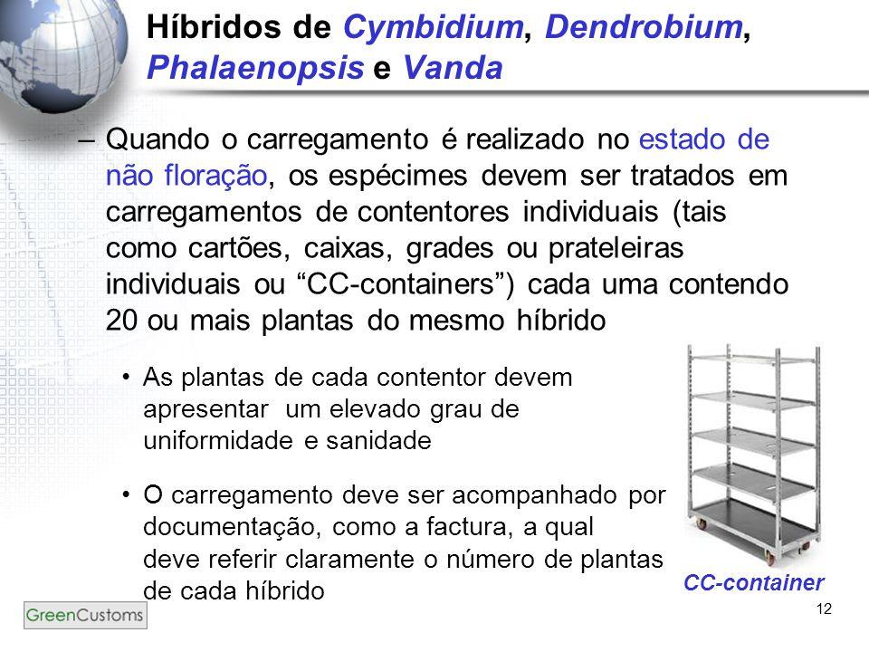 12 Híbridos de Cymbidium, Dendrobium, Phalaenopsis e Vanda –Quando o carregamento é realizado no estado de não floração, os espécimes devem ser tratad