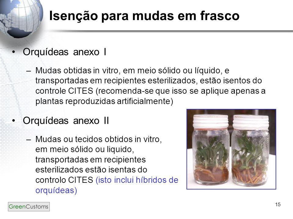 15 Isenção para mudas em frasco Orquídeas anexo I –Mudas obtidas in vitro, em meio sólido ou líquido, e transportadas em recipientes esterilizados, es
