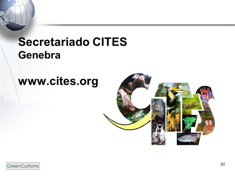 20 Secretariado CITES Genebra www.cites.org